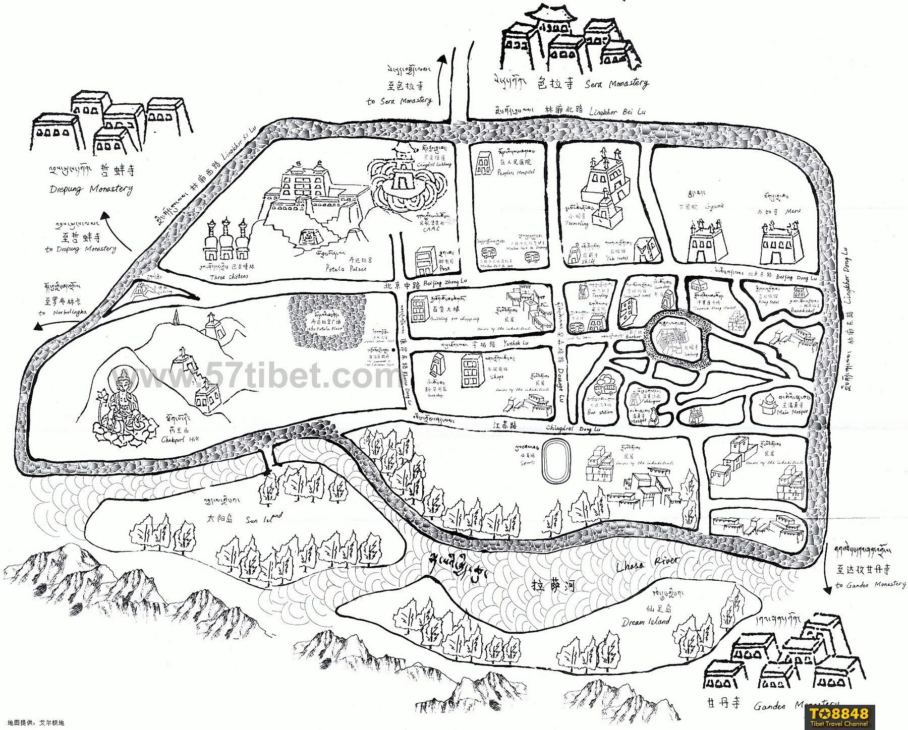地图:西藏拉萨市手绘地图