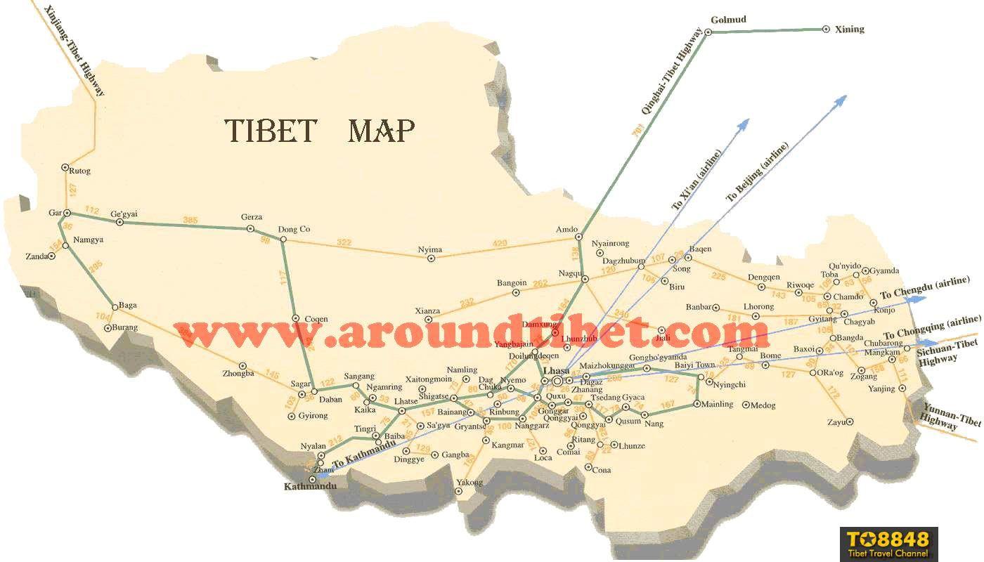 Tibet Highway Traffic Map