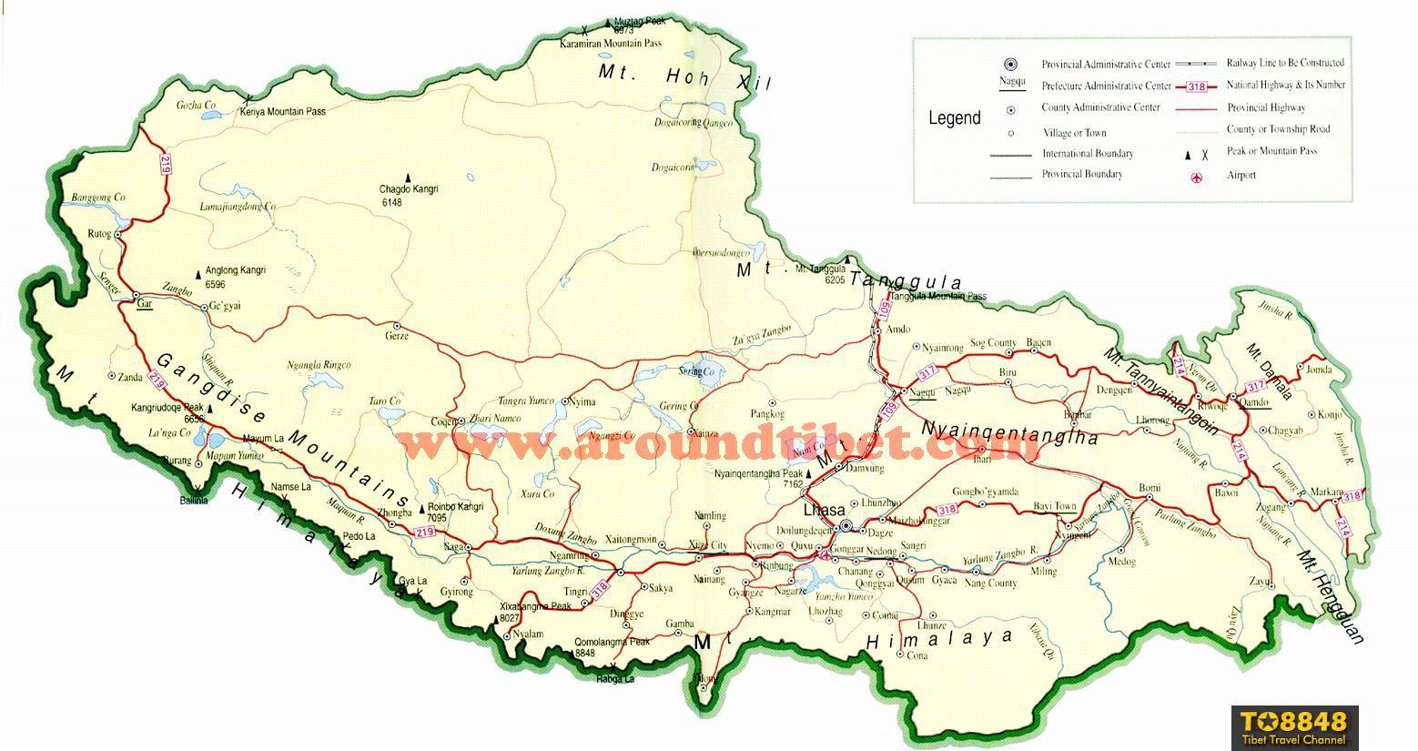 Tibet traffic map - English map of Tibet