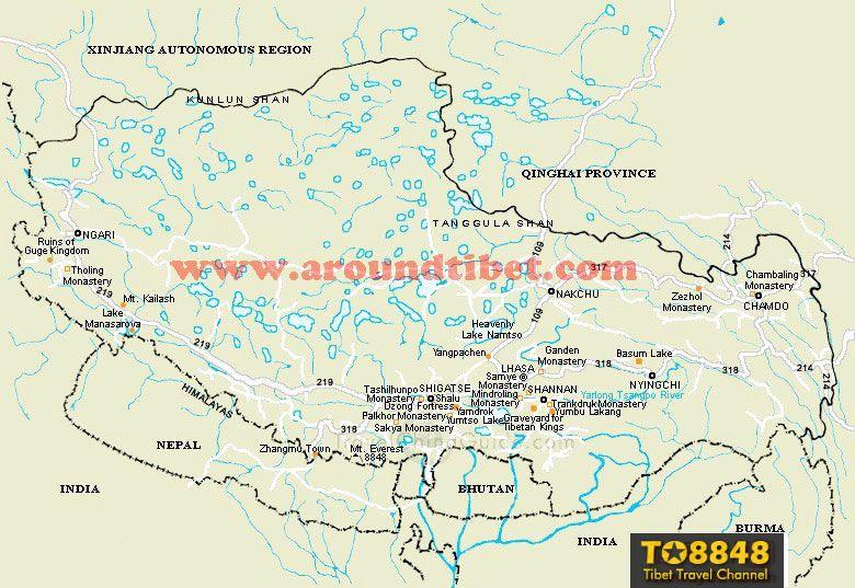 Tibet lake map - English map of Tibet