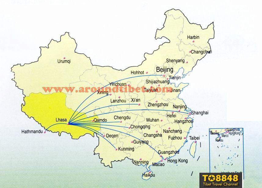 Tibet air route map