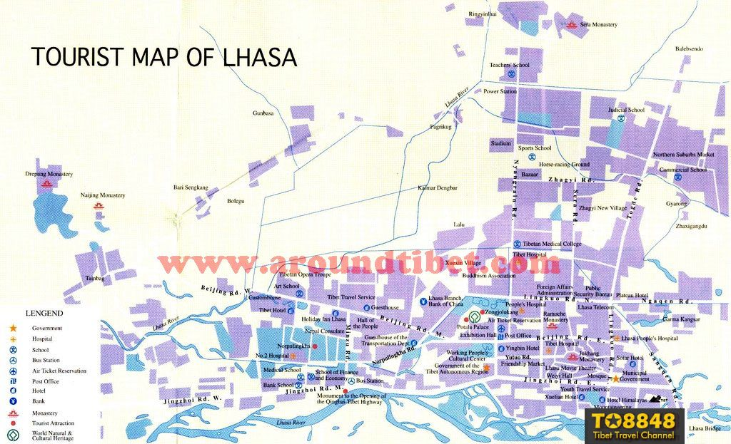 Tours map of Lhasa