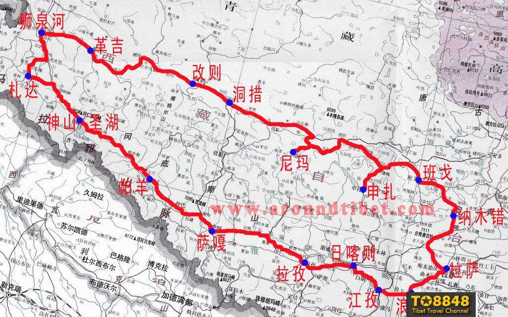 地图:西藏阿里南北环线公路交通地图