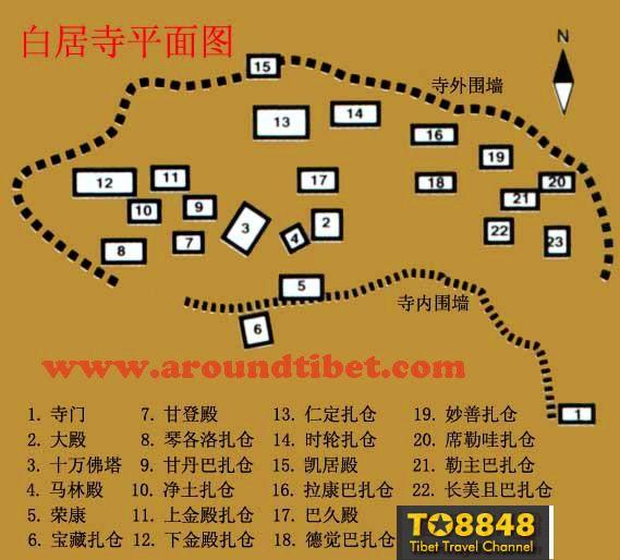 西藏白居寺地图