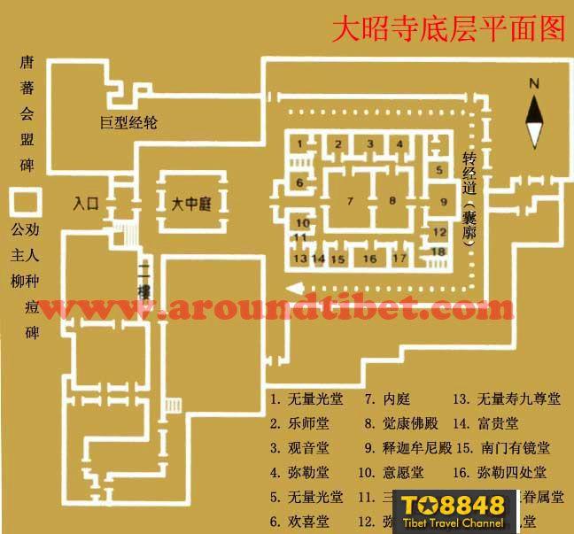 西藏拉萨大昭寺底层平面图