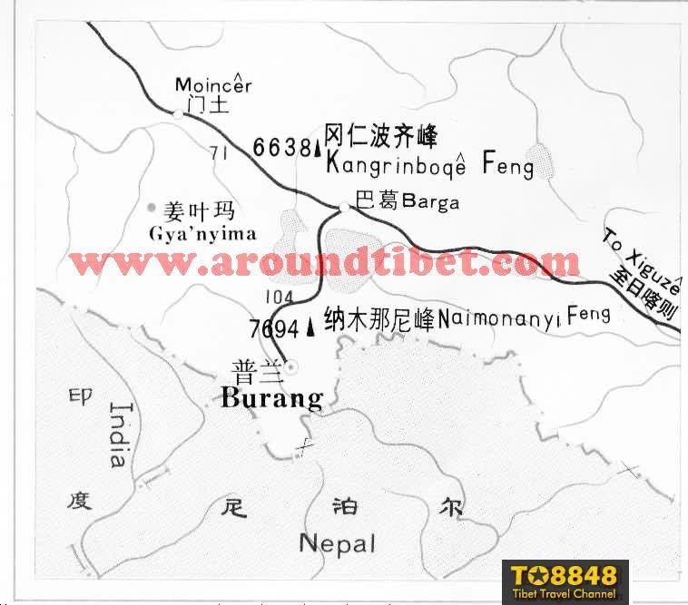 西藏纳木那尼峰进山路线图