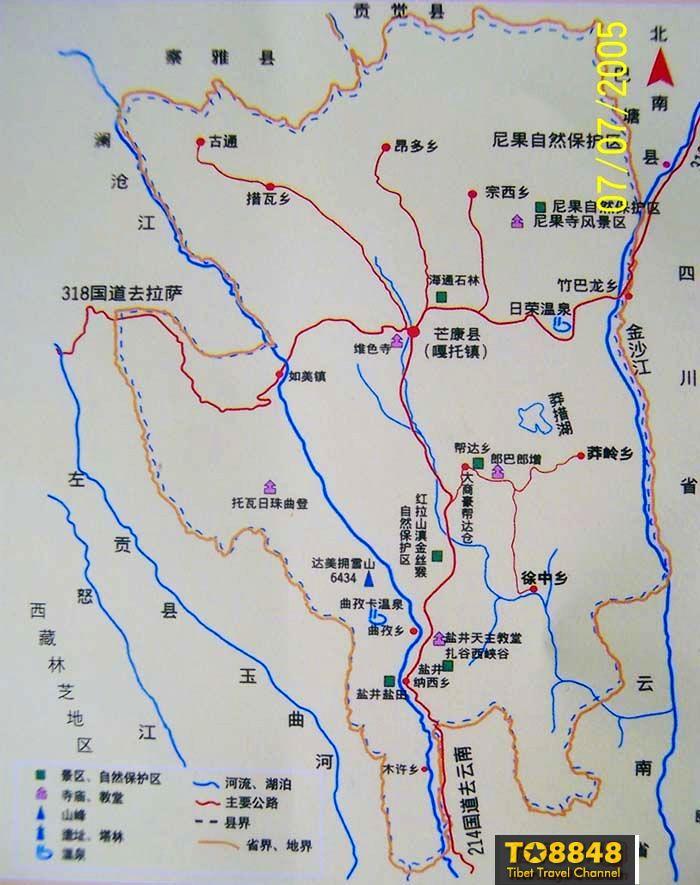 西藏芒康旅游景点地图