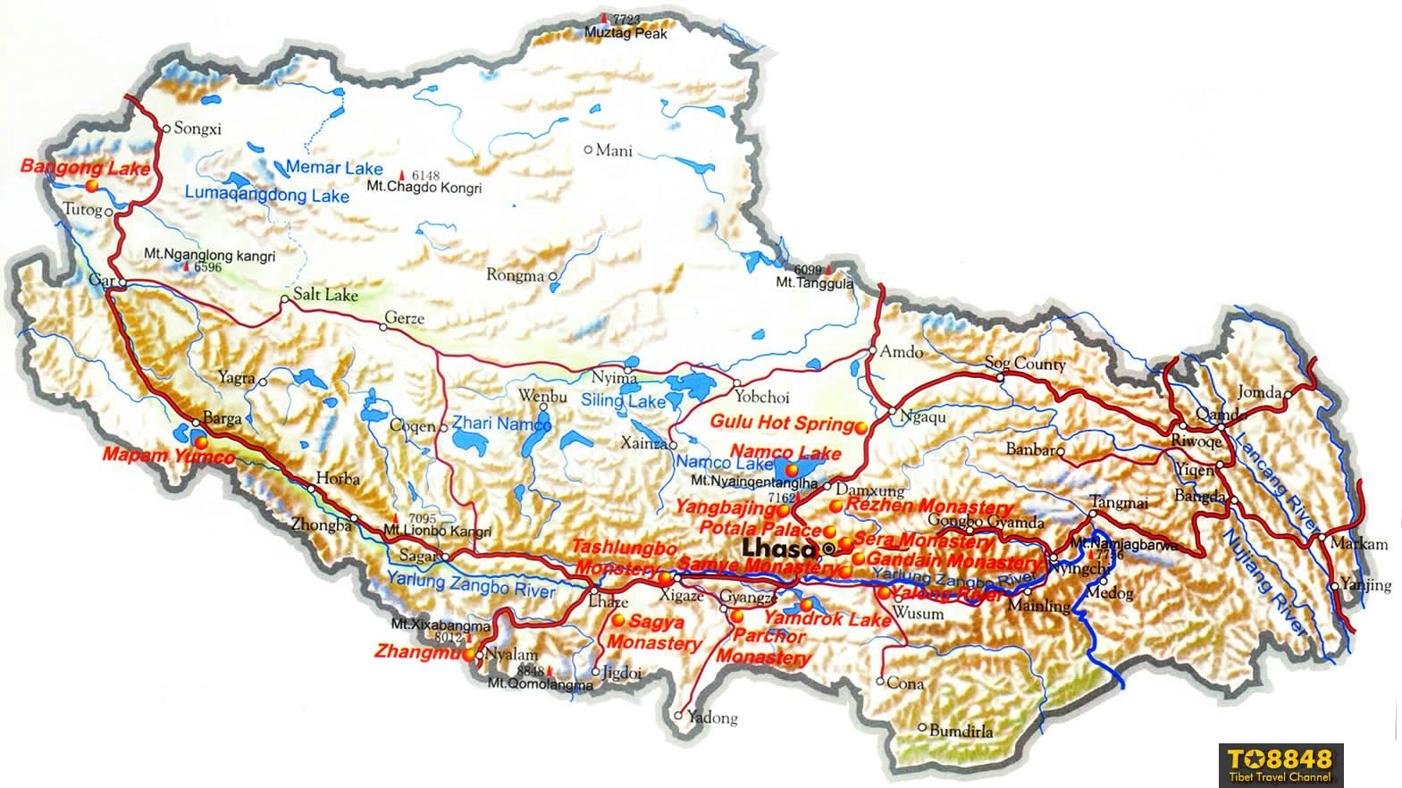 Tibet's tourism map - the English version map