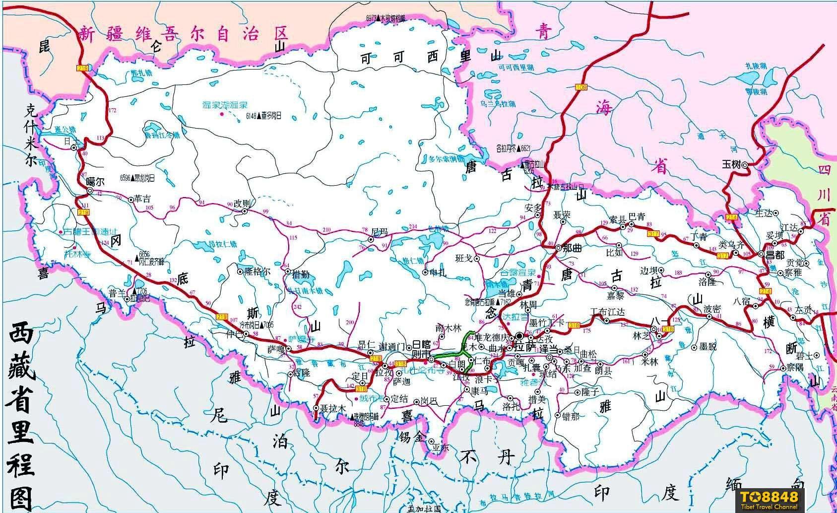 西藏公路交通地图