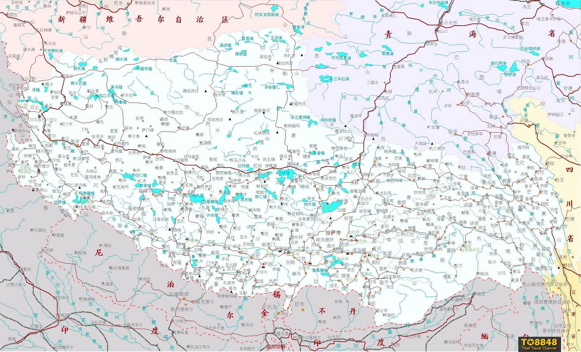西藏行政地名详细地图