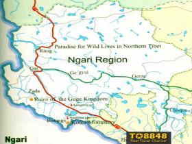 Ngari map(英文版西藏阿里地图)