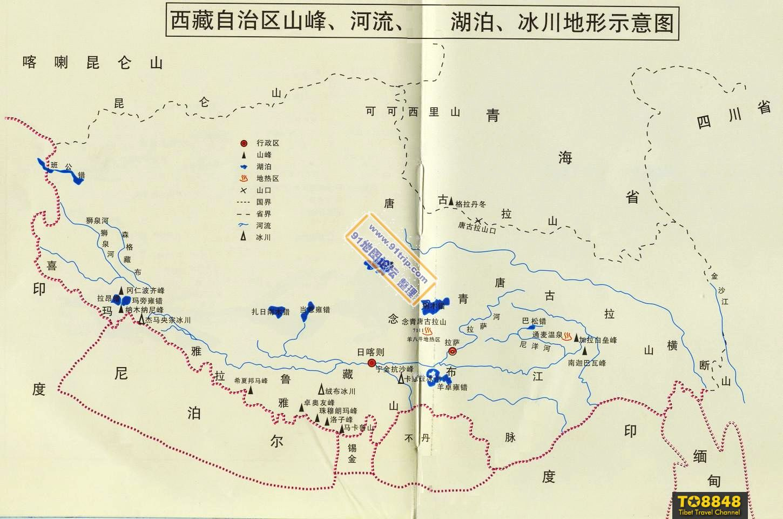 西藏山峰,河流,湖泊,冰川示意地图