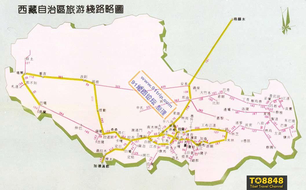 西藏旅游线路地图